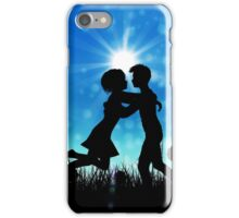 Couple silhouette on grass field 3 iPhone Case/Skin