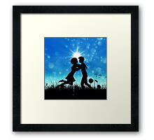Couple silhouette on grass field 3 Framed Print