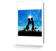 Couple silhouette on grass field 3 Greeting Card