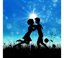 Couple silhouette on grass field 3 Photographic Print