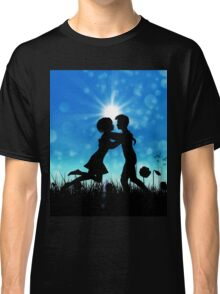 Couple silhouette on grass field 3 Classic T-Shirt