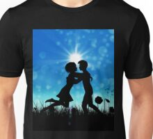 Couple silhouette on grass field 3 Unisex T-Shirt