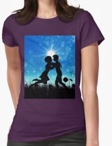 Couple silhouette on grass field 3 Womens Fitted T-Shirt