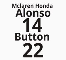Mclaren Honda 2015 - Fernando Alonso 14 and Jenson Button 22 Kids Clothes
