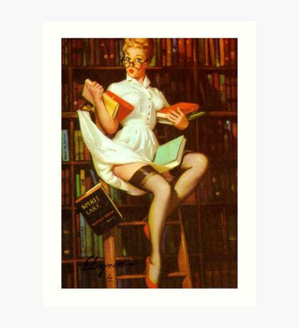 Gil Elvgren Pin Up Librarian Art Print