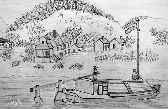 My pencil drawing of An Ancient Scene on the Danube by Dennis Melling