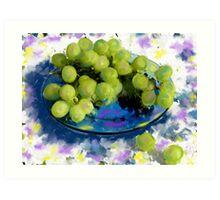 Blue plate green grapes Art Print
