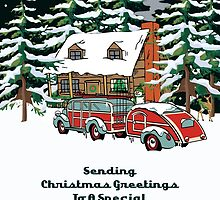 Daughter And Her Fiancee Sending Christmas Greetings Card by Gear4Gearheads