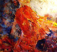 Spanish Flamenco Dancer In Orange 2 by Ballet Dance-Artist