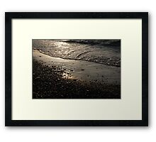 Golden Foam and Pebbles - Early Light at the Breakwater Framed Print