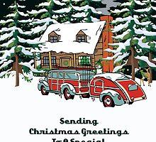 Friend & Her Fiance Sending Christmas Greetings Card by Gear4Gearheads