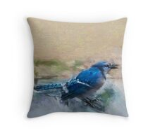 Bluejay Painting Throw Pillow