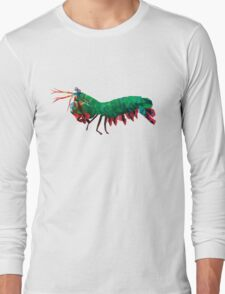 Geometric Abstract Peacock Mantis Shrimp Long Sleeve T-Shirt