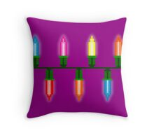 Pixel Christmas Lights Throw Pillow