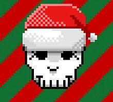 Pixel Skull and Santa Hat by Kelsey G