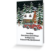 Friend & His Girlfriend Sending Christmas Greetings Card Greeting Card