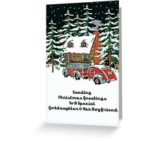 Goddaughter And Her Boyfriend Sending Christmas Greetings Card Greeting Card