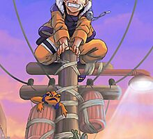 naruto on a telephone pole with frogs by Spikeynator