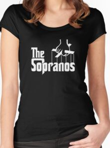 The Sopranos Logo (The Godfather mashup) (White) Women's Fitted Scoop T-Shirt
