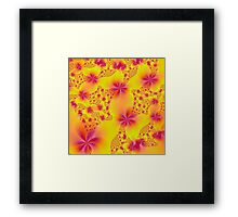 Pink Abstract Flowers on Yellow Framed Print