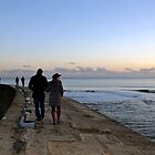 A Walk Along The Harbour Wall at Lyme Dorset UK by lynn carter