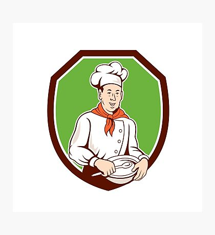 Chef Cook Holding Spoon Bowl Shield Cartoon Photographic Print