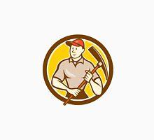 Construction Worker Holding Pickaxe Circle Cartoon Unisex T-Shirt
