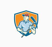 Construction Worker Holding Pickaxe Shield Cartoon Unisex T-Shirt