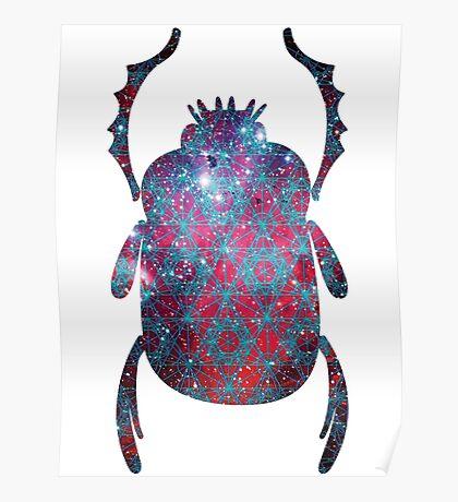 Spiderman Nebula Sacred Geometry   Egyptian Scarab Beetles  Poster