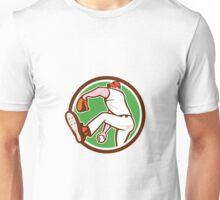 Baseball Pitcher Outfielder Throw Ball Circle Cartoon Unisex T-Shirt