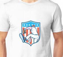 Baseball Pitcher Outfielder Throwing Ball Shield Cartoon Unisex T-Shirt
