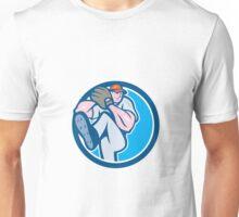 Baseball Pitcher Outfielder Leg Up Circle Cartoon Unisex T-Shirt