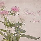 Birthday Greetings Friend - Straw Flowers by Sandra Foster