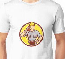 Telephone Repairman Phone Circle Cartoon  Unisex T-Shirt