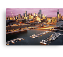 Melbourne city and Docklands at sunset Canvas Print