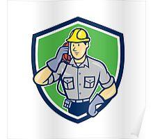 Telephone Repairman Phone Shield Cartoon  Poster