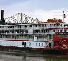Downtown St. Louis Missouri Riverfront Delta Queen Riverboat by Jim Caldwell