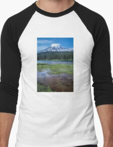 Mount Rainier View from Reflection Lakes Men's Baseball ¾ T-Shirt