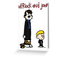 Sherlock Hobbes and John Calvin Greeting Card