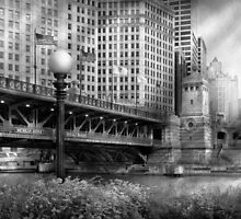 Chicago, IL - DuSable Bridge built in 1920  - BW by Mike  Savad