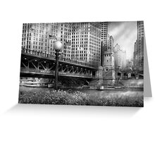Chicago, IL - DuSable Bridge built in 1920  - BW Greeting Card