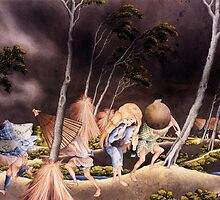 'Peasants Surprised by a Violent Storm' by Katsushika Hokusai (Reproduction) by Roz Abellera Art Gallery