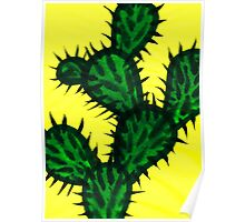 Chinese brush painting - Opuntia cactus. Poster