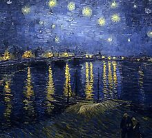 'Starry Night Over The Rhone' by Vincent Van Gogh (Reproduction) by Roz Abellera Art
