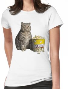 popcorn cat Womens Fitted T-Shirt