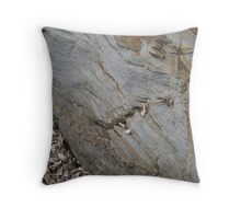 rock and dried seaweed - made me think of a sleepy crocodile with eyes closed Throw Pillow