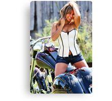 Sandra with bike Canvas Print