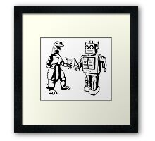 Robot and Godzilla drinking Framed Print