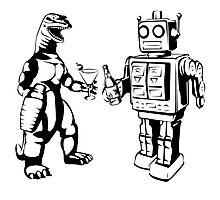 Robot and Godzilla drinking Photographic Print