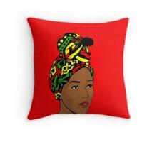 African woman with a turban - Pop art Throw Pillow
